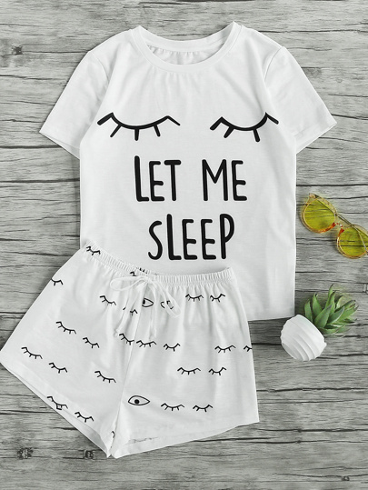 Closed Eyes Print Tee And Shorts Pajama Set