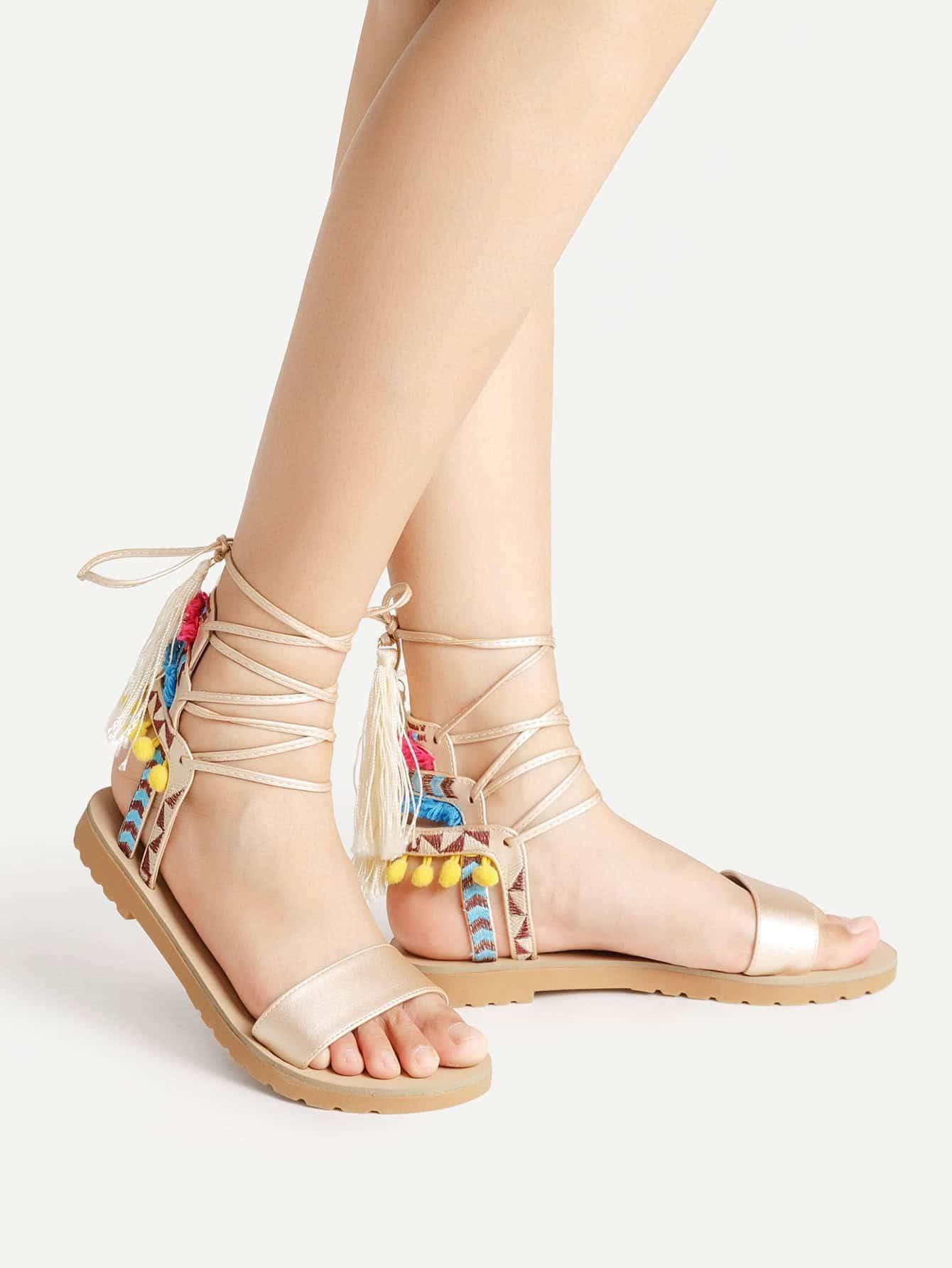 Фото Pom Pom And Tassel Decorated Lace Up Sandals. Купить с доставкой