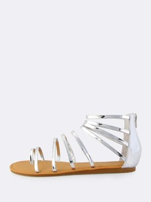 Metallic Strappy Patent Sandals SILVER