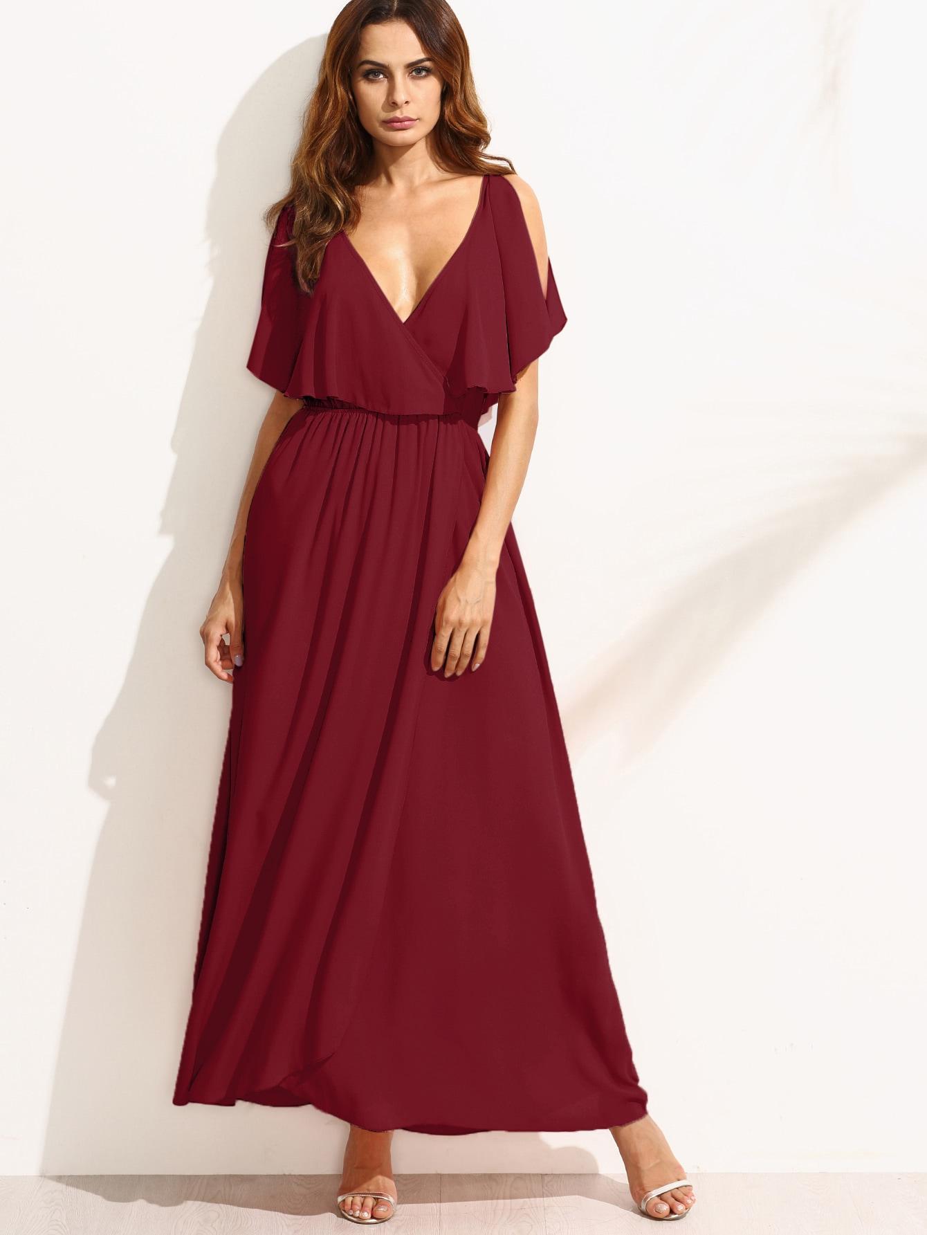 Фото Surplice Front Split Cape Dress. Купить с доставкой