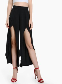 Front Slit High Waist Pants BLACK