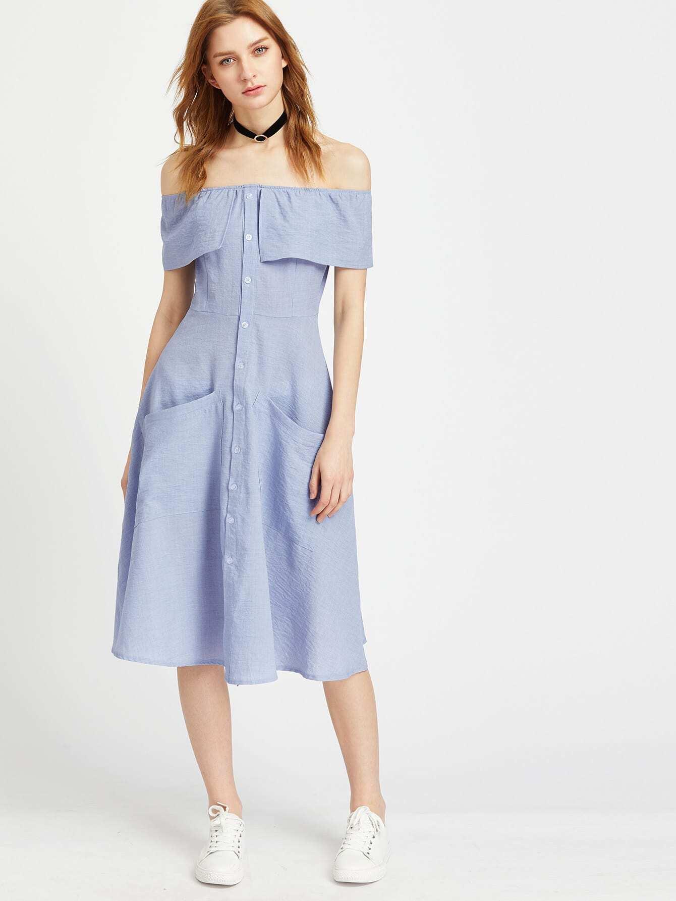 Фото Off Shoulder Flounce Layered Dress. Купить с доставкой