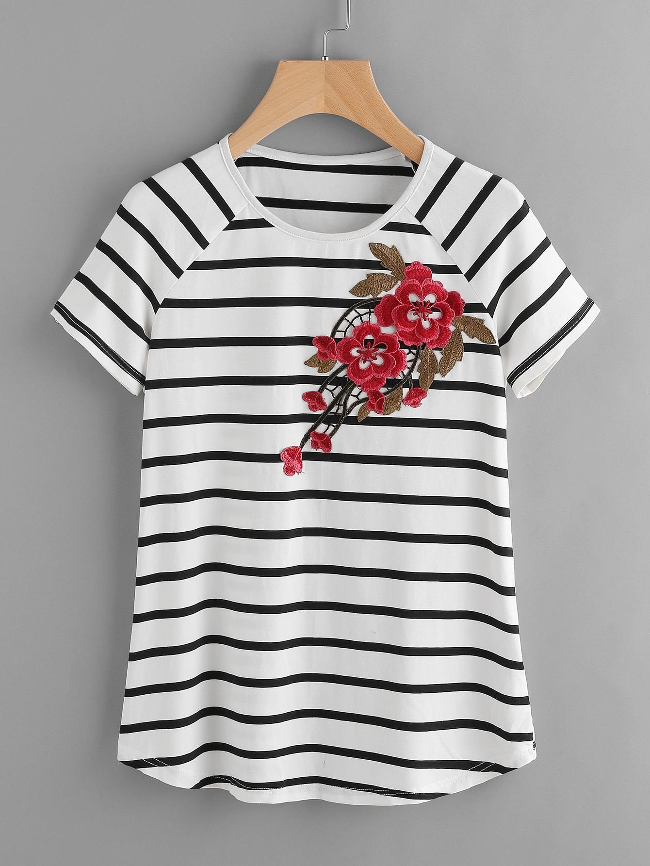 Фото Striped Raglan Sleeve Embroidered Flower Patch T-shirt. Купить с доставкой