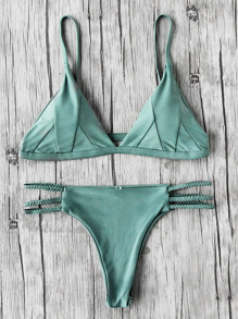 Set bikini de tirantes trenzados con aberturas