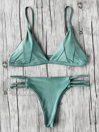 Braided Strap Side Cutout Seam Bikini Set