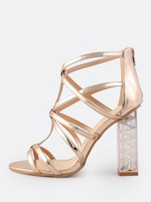 Strappy Caged Metallic Crystal Heel ROSE GOLD