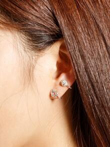 Boucle d'oreille coeur en forme de strass 1pièce