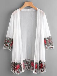 Kimono contrasté creux découpé en crochet