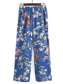 Elastic Waist Floral Wide Leg Pants
