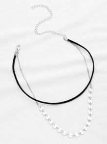 Coin Fringe Detail Double Layer Necklace