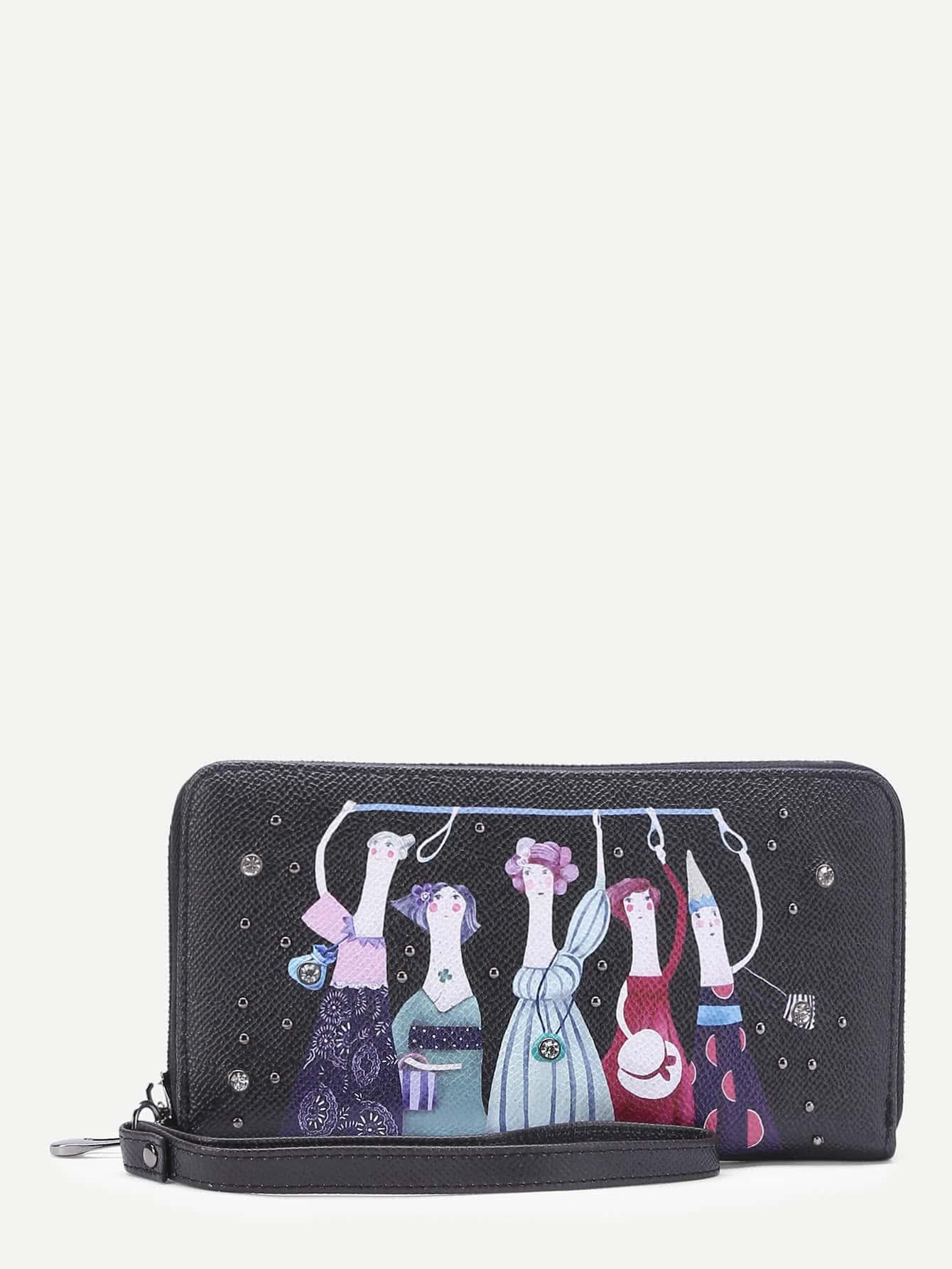 Фото Cartoon Print PU Wallet With Studded. Купить с доставкой
