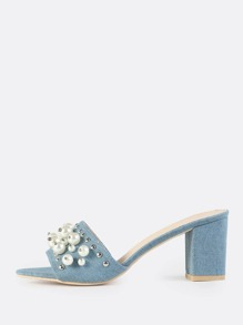 Studded Pearl Denim Mules DENIM