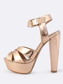 Patent Platform Heels ROSE GOLD