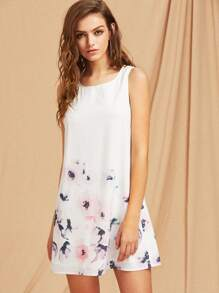 Button Closure Back Flower Print Tank Dress