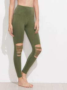 Wide Waistband Knee Ripped Leggings