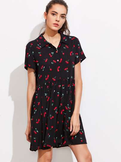 Allover Cherry Print Half Placket Babydoll Dress