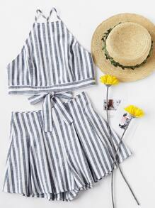 Crisscross Tie Back Striped Cami Top And Pleated Shorts Set