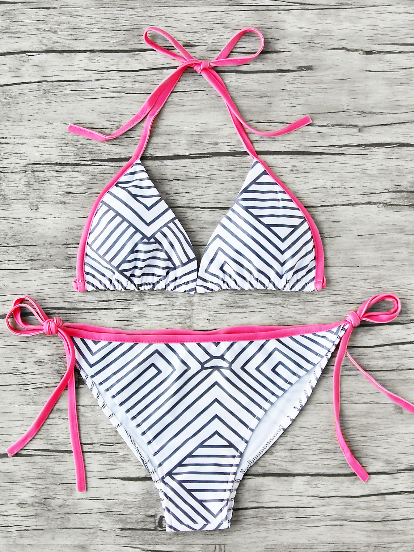 Фото Geometric Stripe Print Side Tie Bikini Set. Купить с доставкой