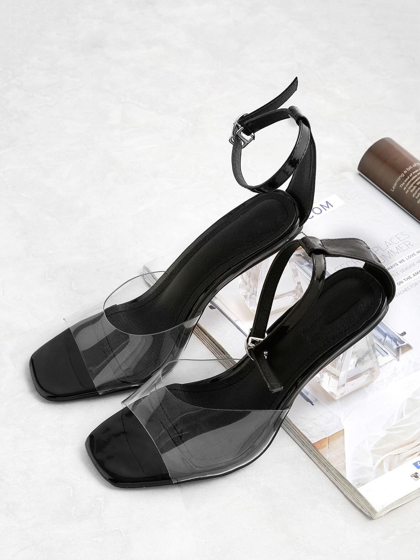 Фото Clear Top Strap Block Heeled Sandals. Купить с доставкой