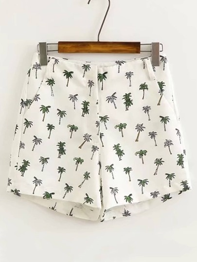 Palm Tree Print Bermuda Shorts