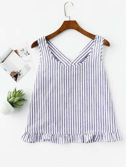 Bow Back Ruffle Trim Striped Pinafore Top