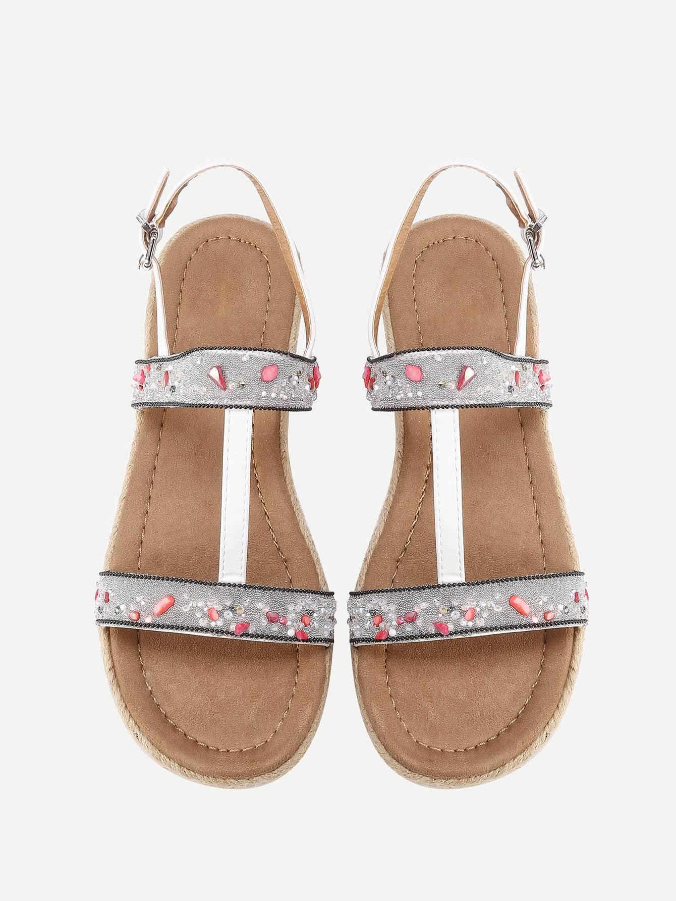 Фото Stone Detail Strappy Flat Sandals. Купить с доставкой