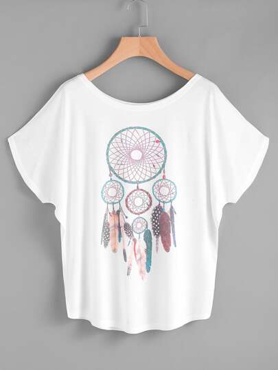 Feather Print Dolman Sleeve Tee