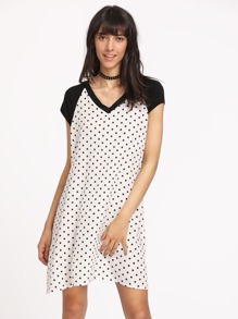 Polka Dot Print Contrast Raglan Sleeve Tee Dress