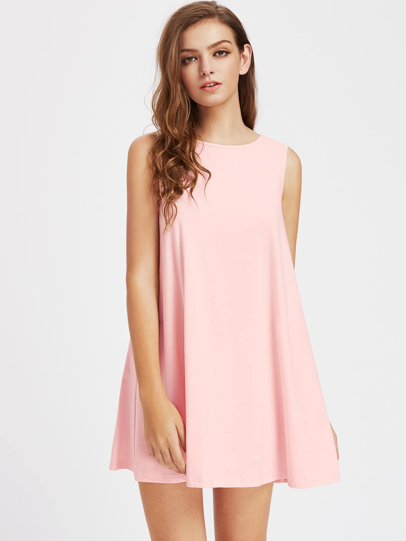 V Notch Tie Back Trapeze Dress dress170515705