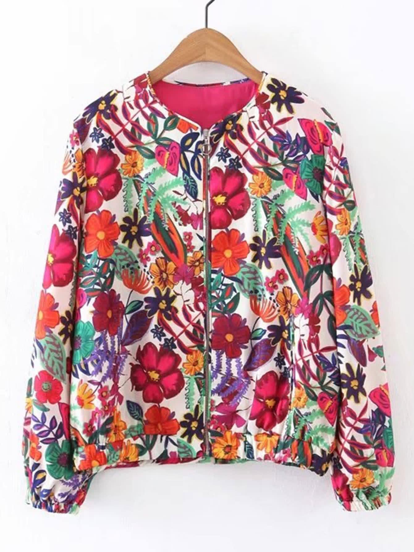Фото Flower Print Zipper Up Jacket. Купить с доставкой