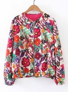 Flower Print Zipper Up Jacket