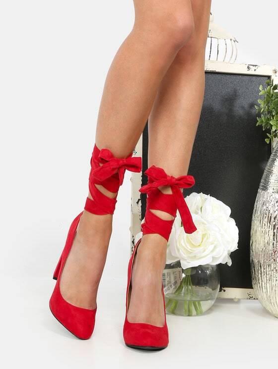Фото Suede Lace Up Pumps RED. Купить с доставкой
