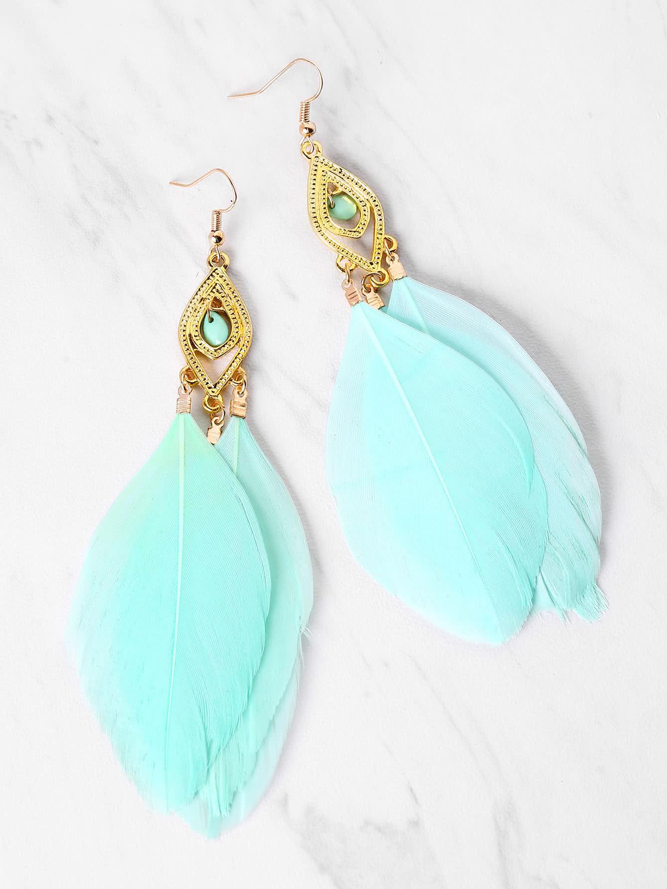 Фото Feather Decorated Drop Earrings. Купить с доставкой