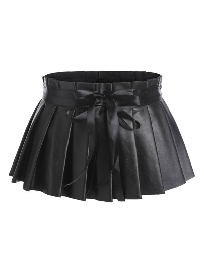 Pleated Faux Leather Skirt Belt