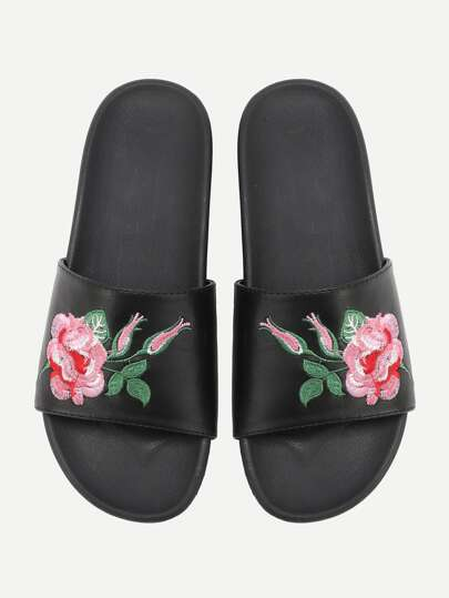 Flower Embroidery Flat Sliders