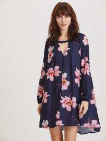 V-Cut Flower Print Tent Dress