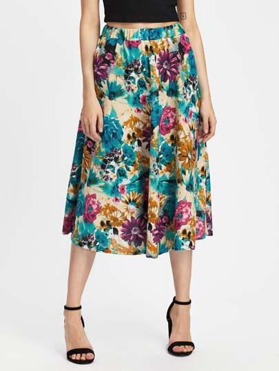 Elastic Waist Pleated Midi Skirt