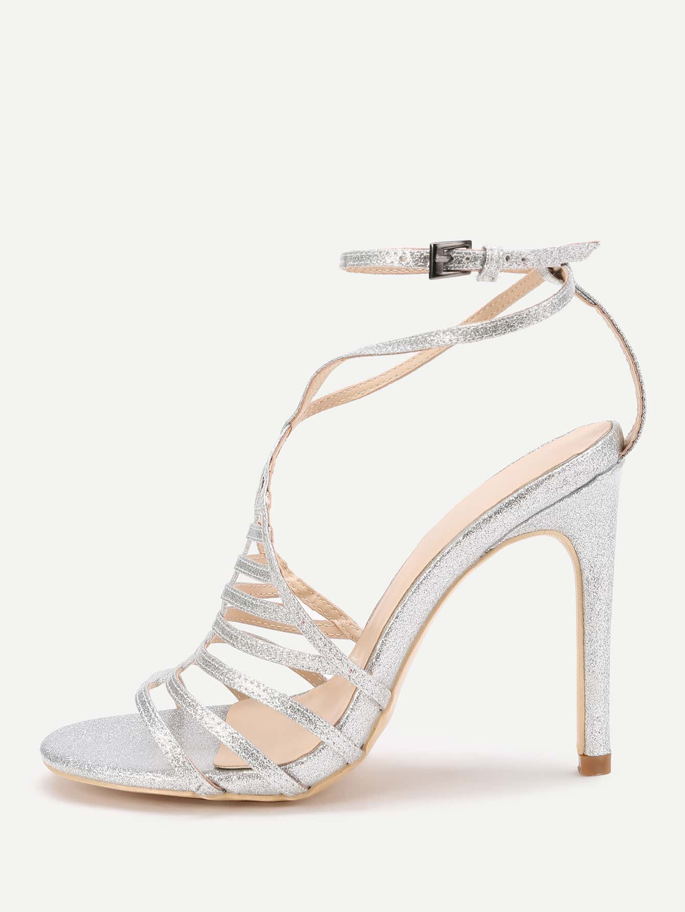 Фото Ladder Cutout Ankle Strap Glitter Stiletto Sandals. Купить с доставкой