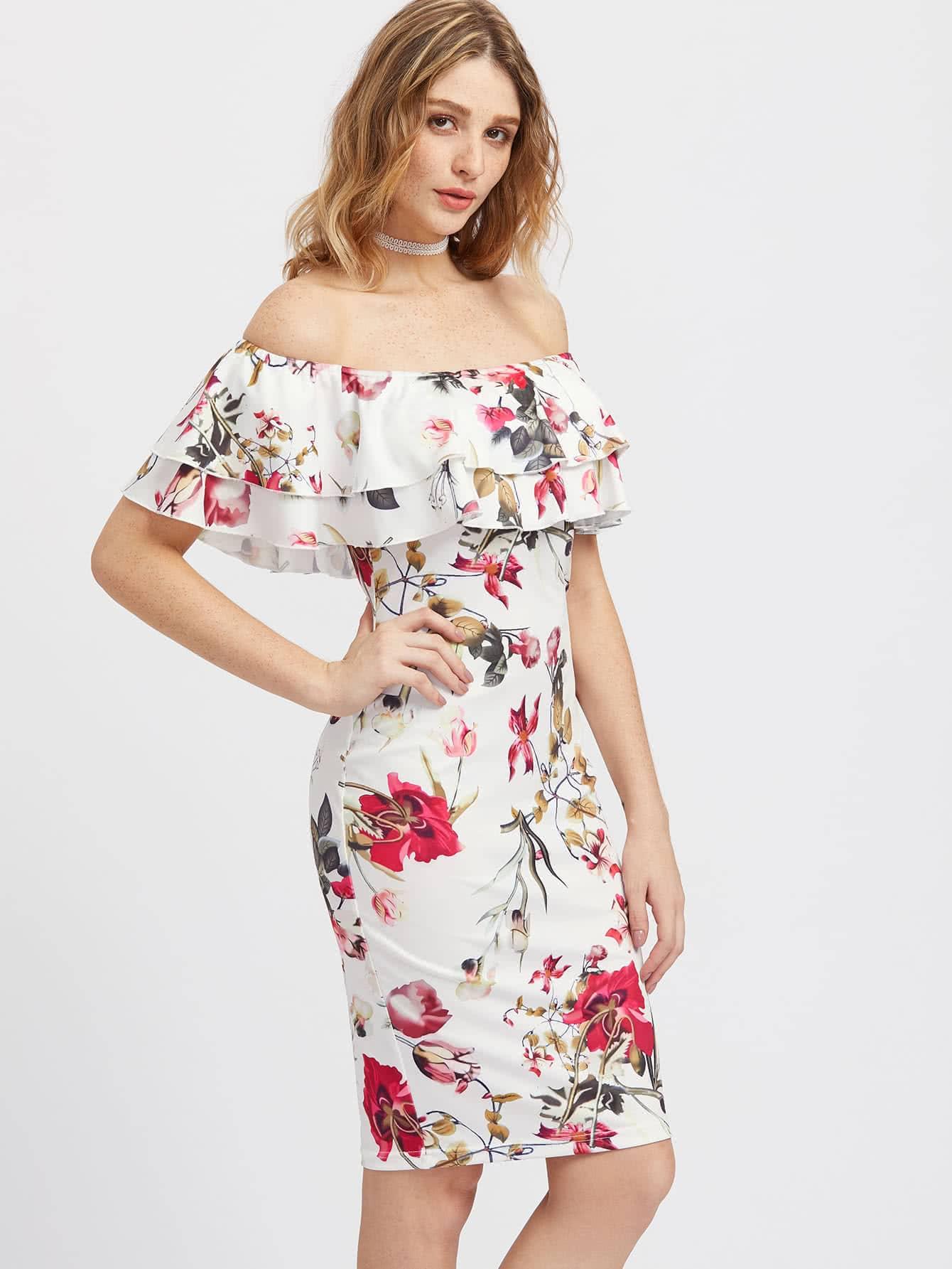 Фото Layered Flounce Off Shoulder Flower Print Dress. Купить с доставкой