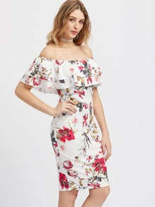 Layered Flounce Off Shoulder Flower Print Dress