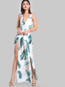 Tie Up Split Front Maxi Dress IVORY