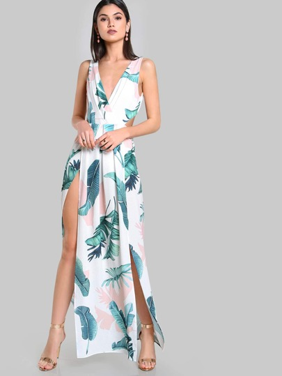 Tied Open Back M-Slit Tropical Dress