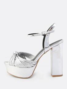 Metallic Knotted Platform Heels SILVER