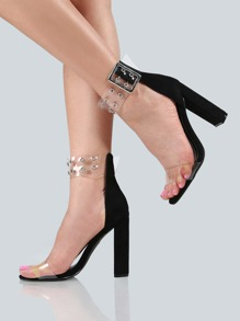 Clear Double Eyelet Ankle Strap Heels BLACK