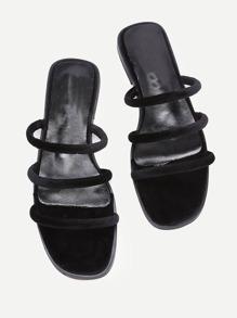 Open Toe Strappy Slide Flat Sandals