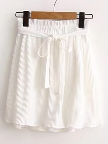 Tie Waist Pleated Skirt