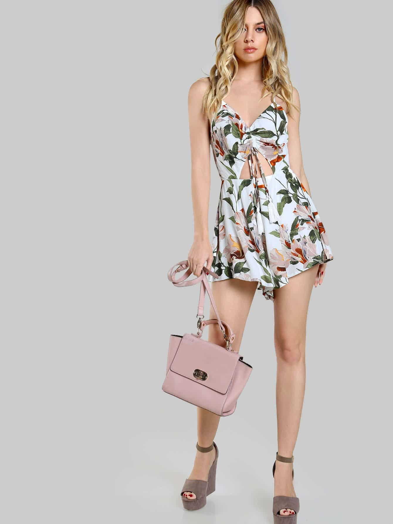 Tie Front Cut Out Romper Off White Shein Sheinside