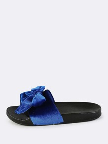 Velvet Bow Slip On Slides ROYAL BLUE