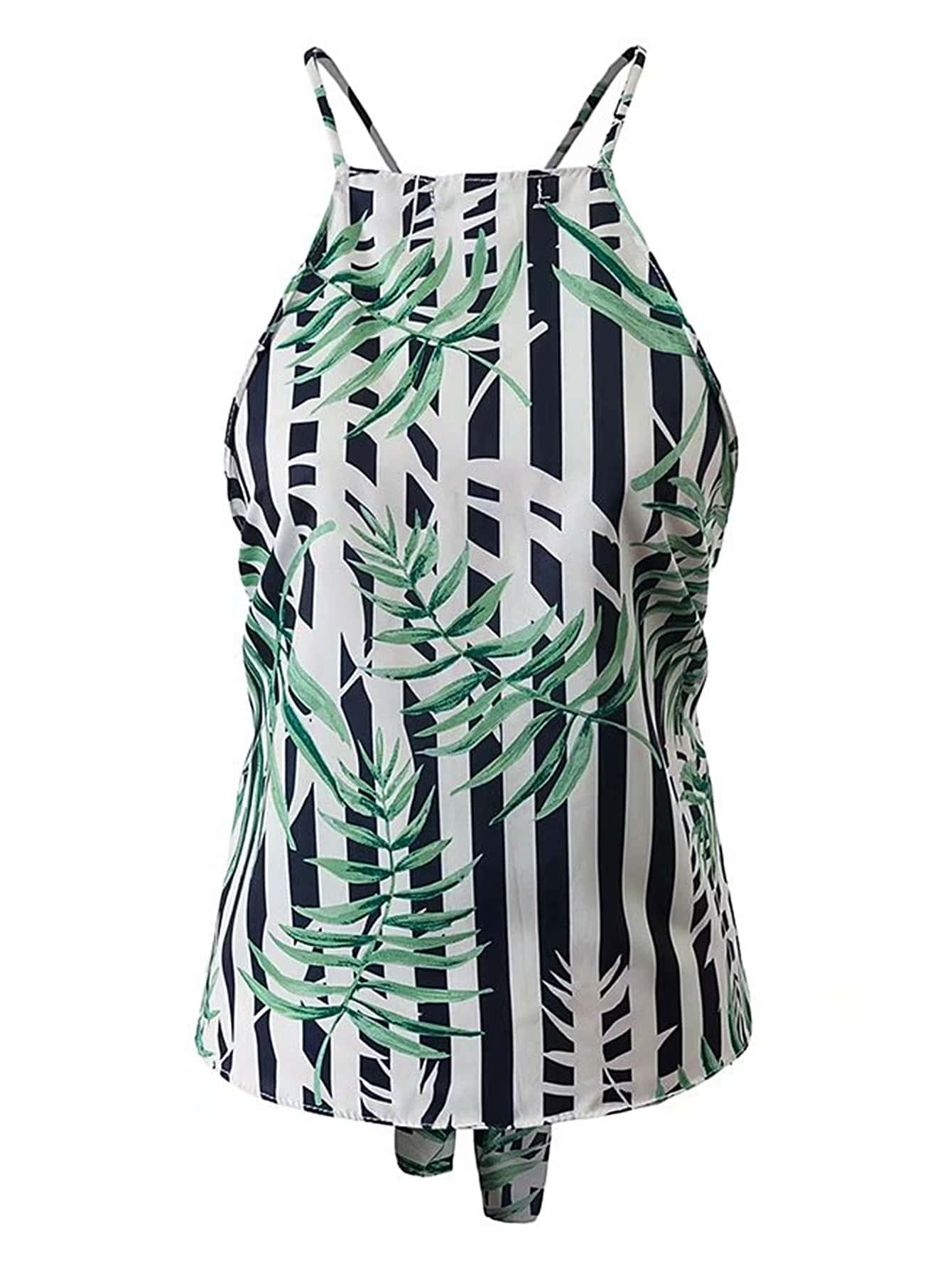 Vertical Striped Criss Cross Back Top vest170504201