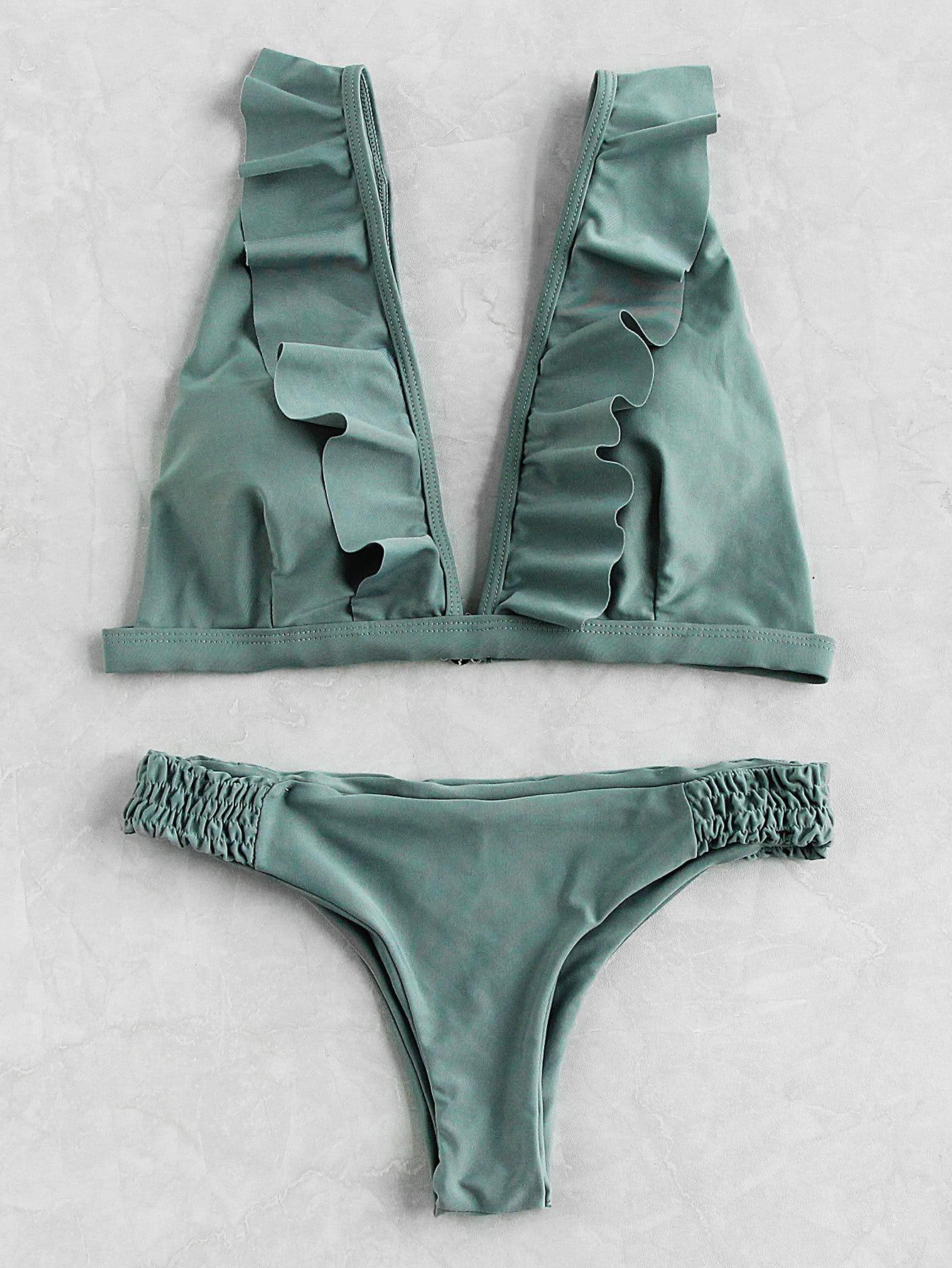 Фото Frill Plunge Neckline Elastic Waist Bikini Set. Купить с доставкой